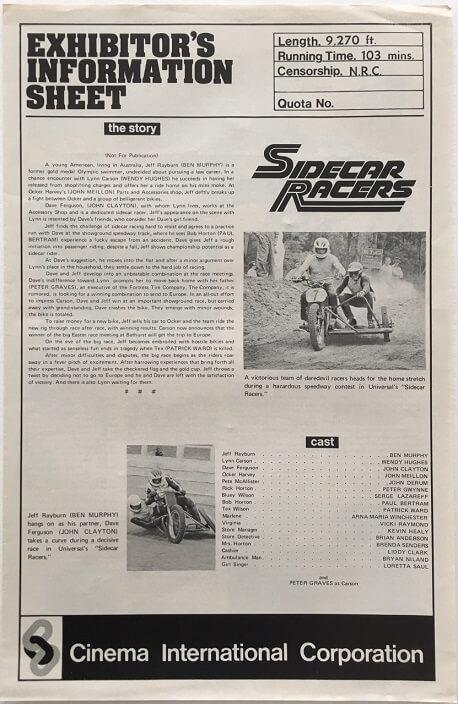 sidecar racers exhibitors information sheet 2