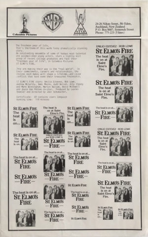 st elmos fire New Zealand press sheet