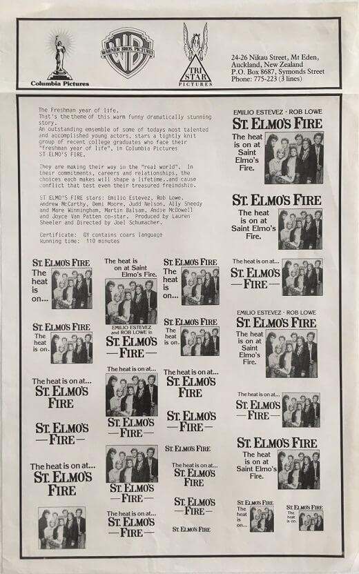 st elmos fire New Zealand press sheet