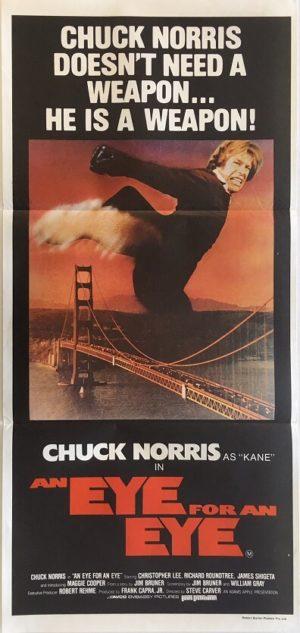 an eye for an eye daybill poster featuring chuck norris 1981