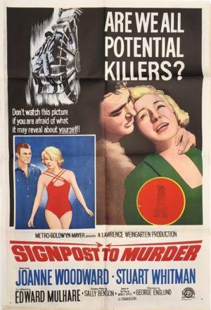 signpost to murder australian one sheet movie poster joanne woodward and stuart whitman