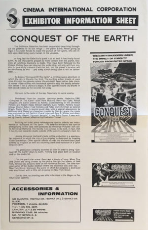 battlestar galactica conquest of the earth australian press sheet
