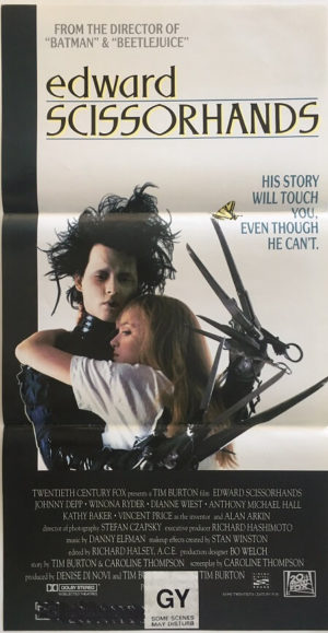 edward scissorhands australian daybill poster with johnny depp 1990 Tim Burton production