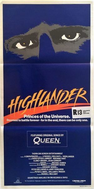 Highlander australian daybill poster featuring queen soundtrack reference 1986