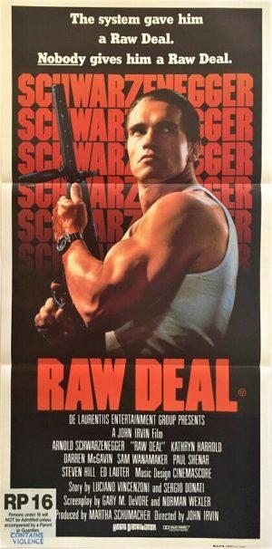 raw deal australian daybill poster featuring arnold schwartzenegger 1986
