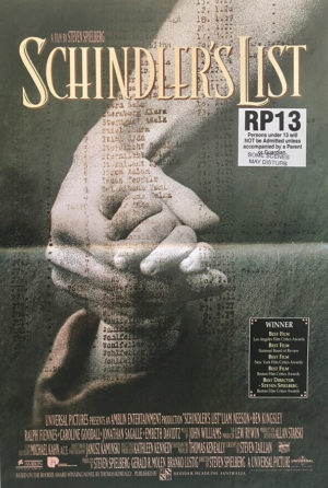 schindlers list australian mini daybill poster 1993