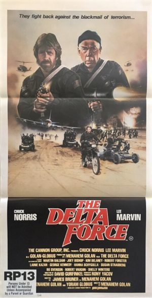 the delta force australian daybill poster featuring chuck norris and lee marvin 1986