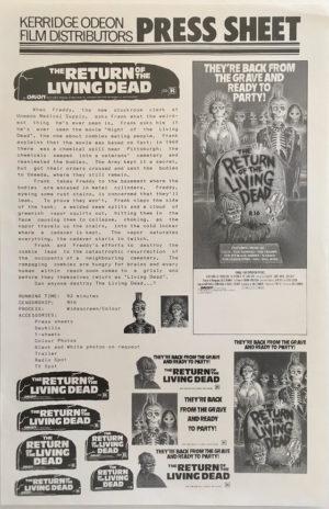 the return of the living dead australian press sheet 1985