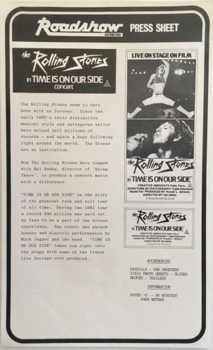 the rolling stones time is on our side concert Let's Spend the Night Together movie press sheet (1)