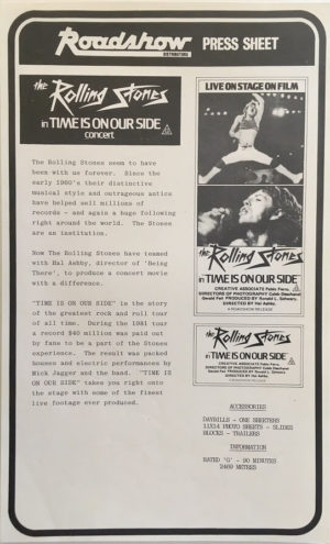 the rolling stones time is on our side concert Let's Spend the Night Together movie press sheet (2)