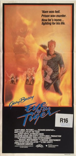 eye of the tiger australian daybill poster with gary busey 1986