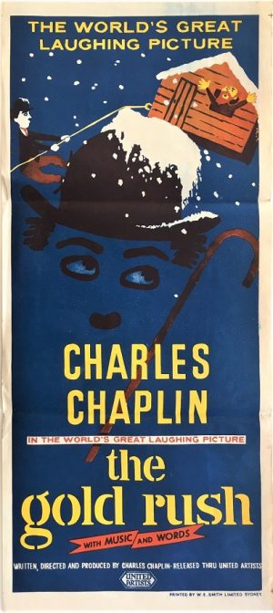 the gold rush charlie chaplin australian rerelease daybill movie poster 1