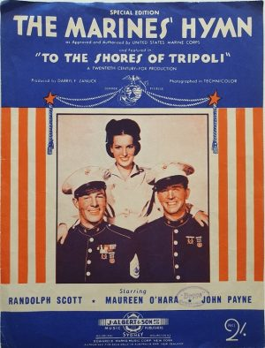 to the shores of tripoli 1942 australian sheet music featuring maureen ohara and randolph scott (1)
