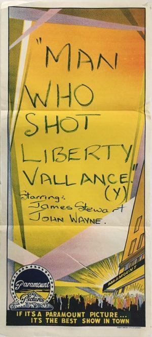 The Man Who Shot Liberty Valance 1962 australian stock daybill poster with john wayne and james stewart