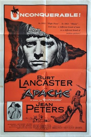 Apache one sheet movie poster with burt lancaster 1954 rerelease