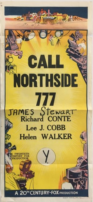 call northside 777 australian stock daybill movie poster 20th Century Fox with James Stewart