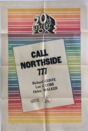 call northside australian stock one sheet movie poster 20th Century Fox with james stewart 1950's