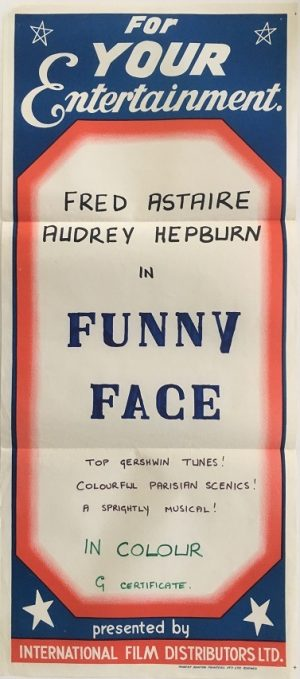 funny face australian stock daybill poster with fred astaire and audrey hepburn 1970's