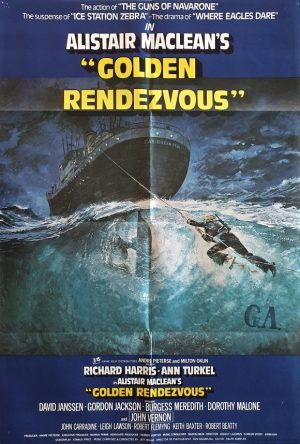 golden rendezvous uk one sheet movie poster 1977 with Richard Harris, artwork by Brian Bysouth