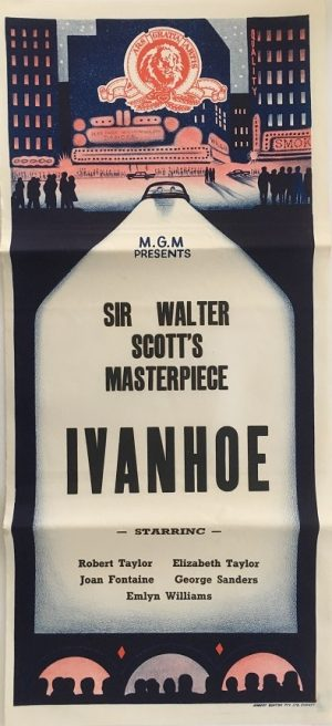 ivanhoe australian stock daybill poster with Robert Taylor, Elizabeth Taylor and Joan Fontaine from the 1950's