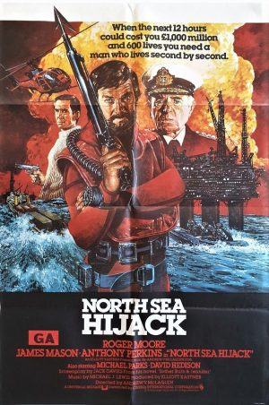 north sea hijack uk one sheet movie poster with roger moore and james mason 1980. known as ffolkes in the US