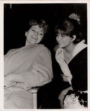rita hayworth and claudia cardinale during filming circus world 1964