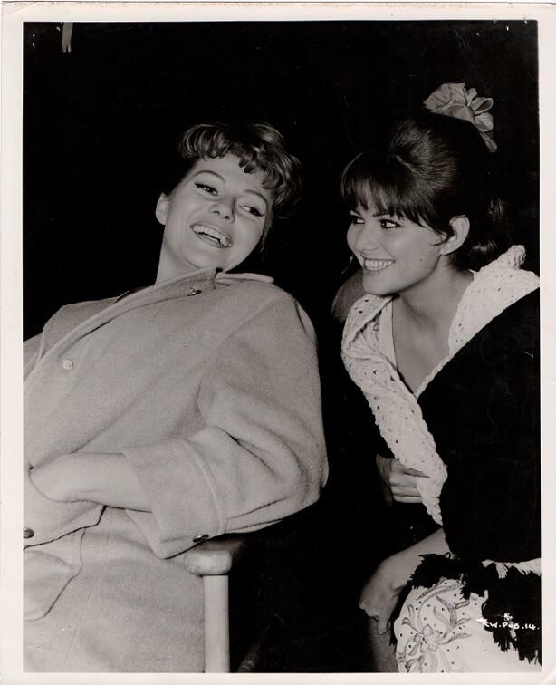 rita hayworth and claudia cardinale during filming circus world 1964