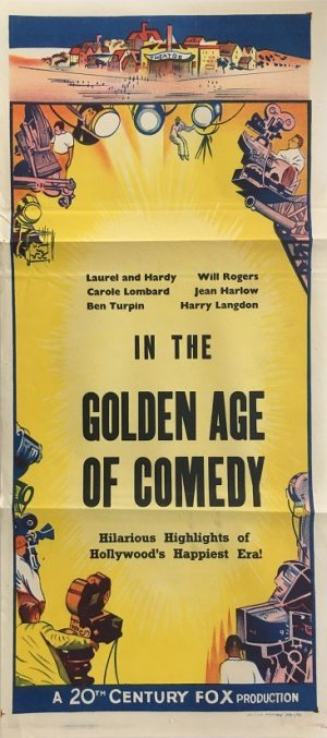 the golden age of comedy australian stock daybill movie poster 20th Century Fox 1950's laurel and hardy