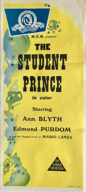 the student prince MGM stock daybill movie poster 1950's