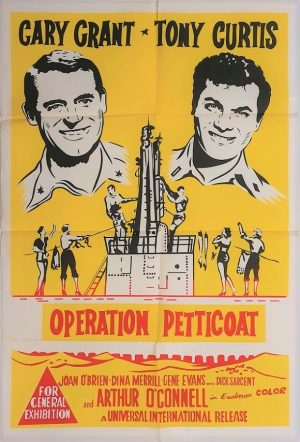 Operation Petticoat 1960's australian re-release duotone one sheet poster with cary grant and tony curtis