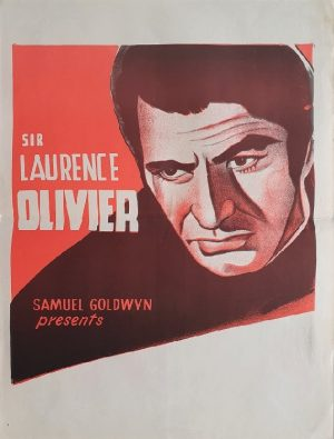 Laurence Olivier stock daybill poster 1950's