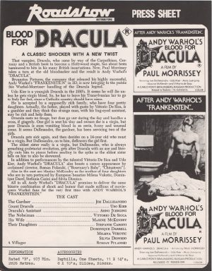 Andy Warhol's Dracula 1974 australian press sheet