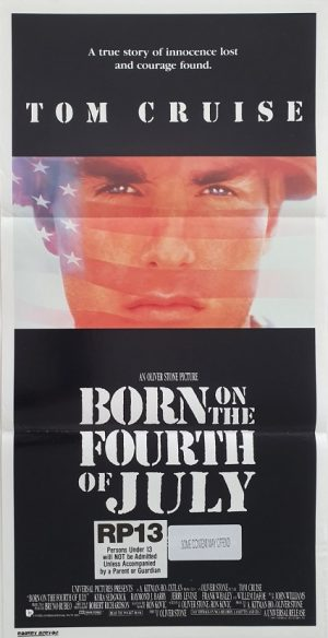 born on the fourth of july 1989 australian daybill poster with tom cruise and oliver stone