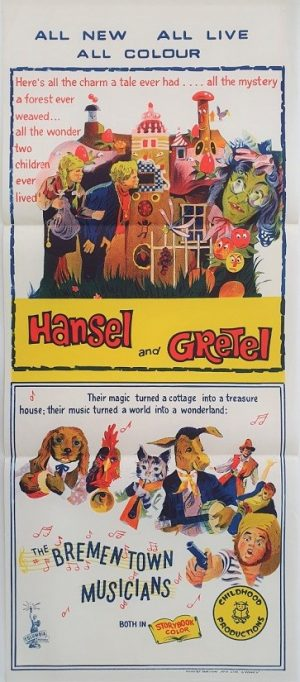 hansel and gretel australian daybill poster for 1960's german double bill production including brementown musicians
