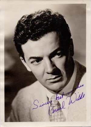 Cornel Wilde 1940s signed portrait