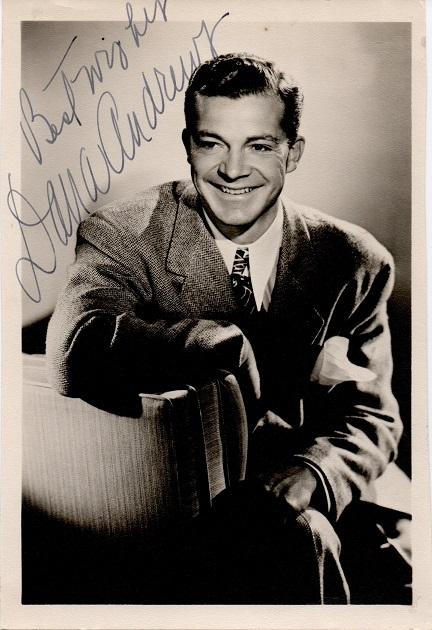Dana Andrews 1940s signed portrait