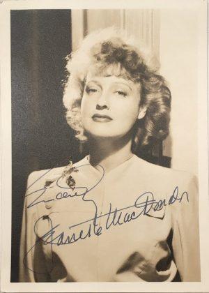 Jeanette MacDonald 1940s portrait signed