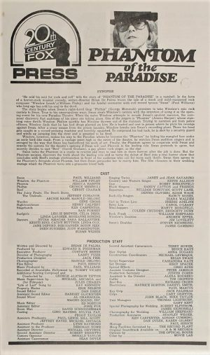 Phantom of the paradise press sheet 1974