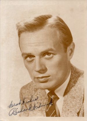 Richard Widmark 1950s signed portrait