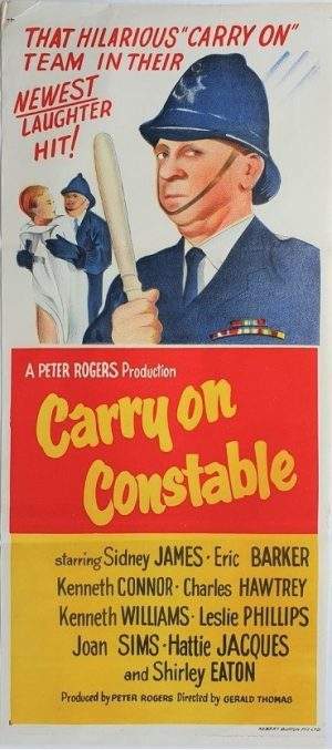 carry on constable australian daybill poster with sid james 1960