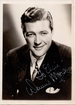 dennis morgan 1940s signed portrait