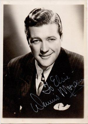 dennis morgan 1940s signed portrait