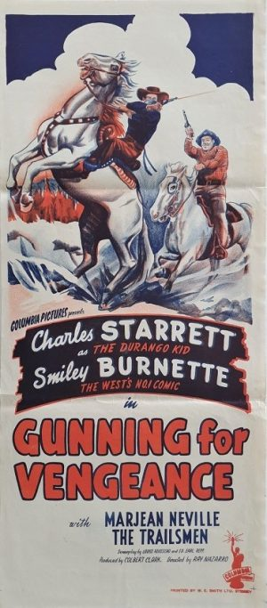 gunning for vengance daybill poster with charles starrett 1946