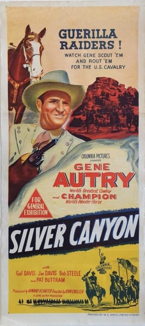 silver canyon australian daybill poster with gene autry 1951