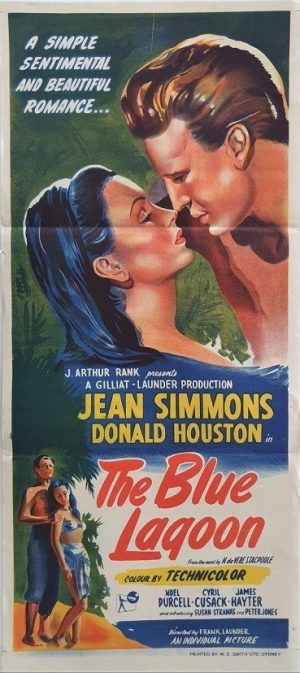 the blue lagoon australian daybill movie poster 1949 with Jean Simmons