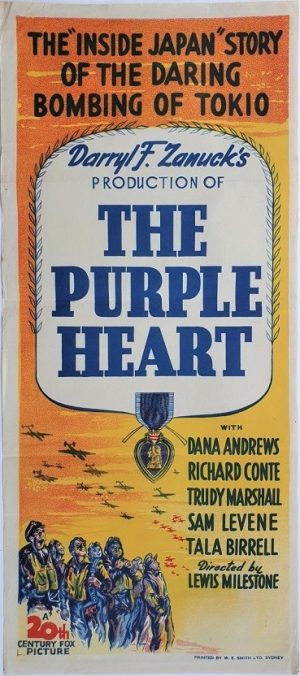 the puple heart australian daybill poster very rare 1944