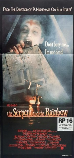 the serpent and the rainbow australian daybill poster by wes craven 1988