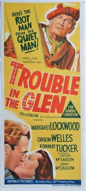 trouble in the glen australian daybill poster 1954 with Orson Welles and Margaret Lockwood