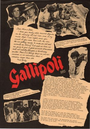 Gallipoli 1981 Australian display flyer with Mel Gibson