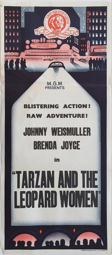 Tarzan and the Leopard Woman 1950s rerelease australian stock daybill poster